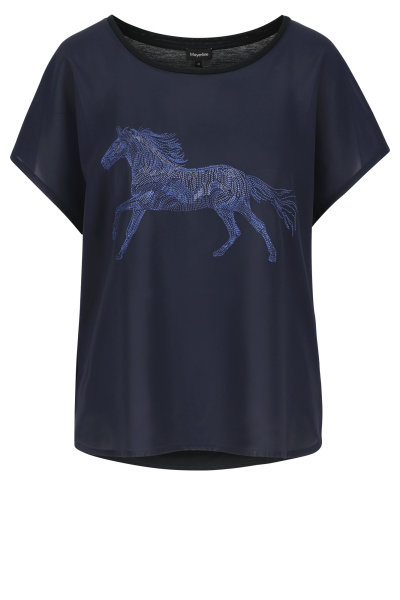 Mayerline Donkerblauw T-shirt met front in mousseline 1