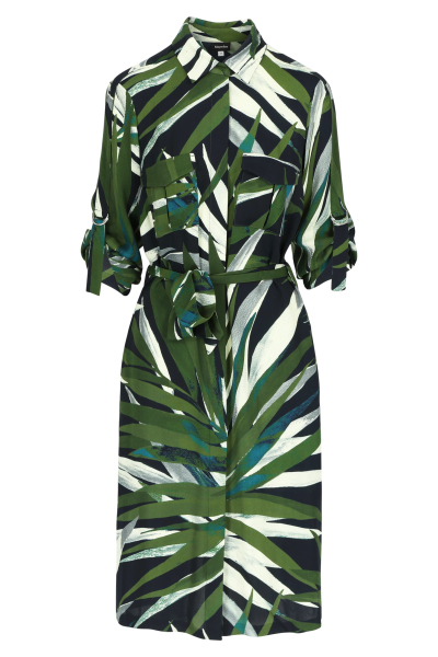 Mayerline Safari style doorknoopjurk in crêpe met jungleprint 1