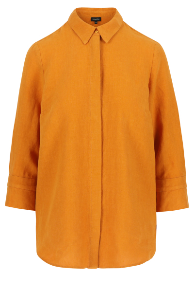 Lange loose fit hemdblouse in zuiver linnen.