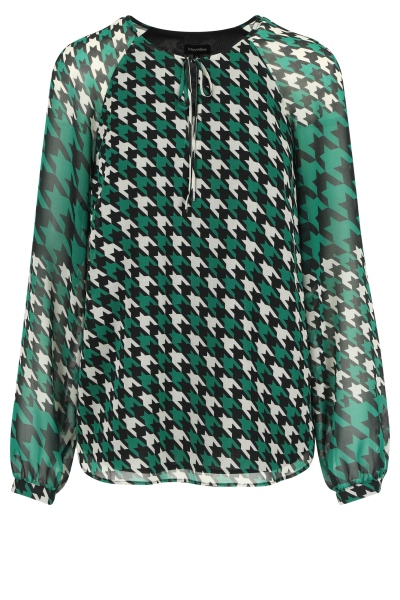 Mayerline Loose fit blouse in chiffon met houndstoothprint 1