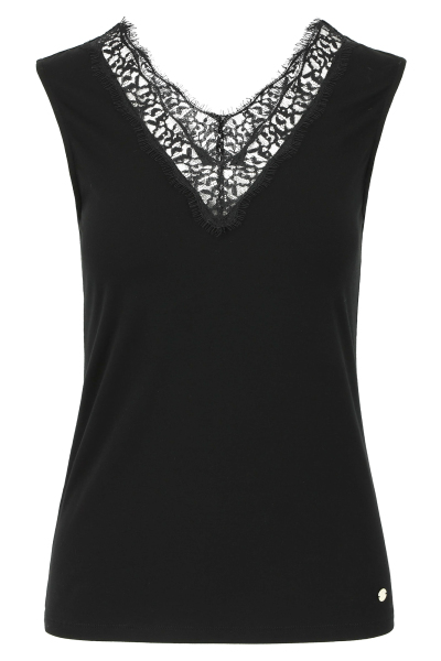 Mayerline Top noir stretch orné de dentelle  1