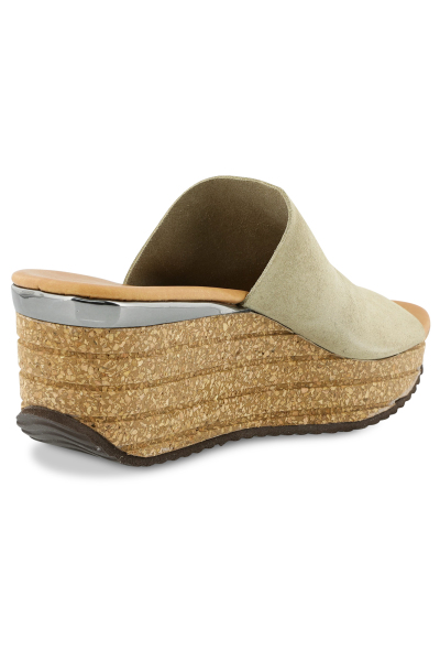 Mayerline Wedge slippers in nubuck met kurken zool 2